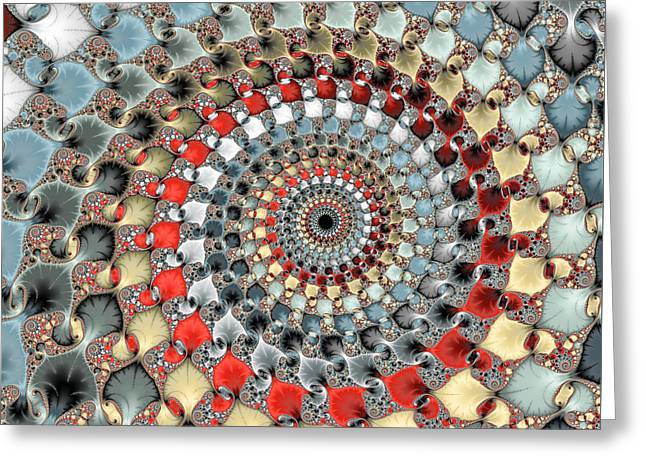 Floral Digital Art Greeting Cards - Fractal spiral red grey light blue square format Greeting Card by Matthias Hauser