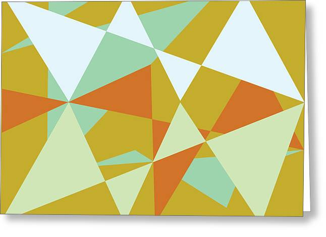 Triangles Tapestries - Textiles Greeting Cards - Fractured Greeting Card by Ala Lockhart