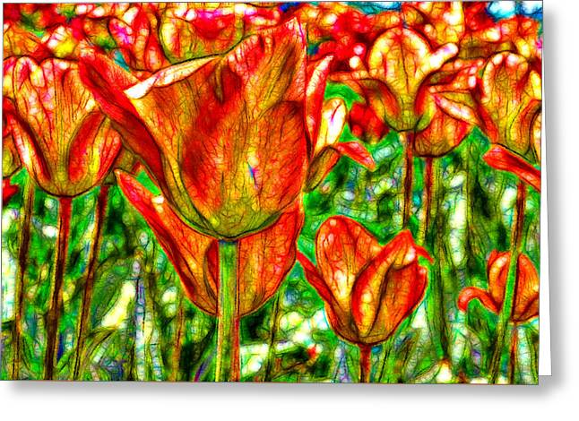 Vitrail Greeting Cards - Fractured Tulips Greeting Card by Jean-Marc Lacombe