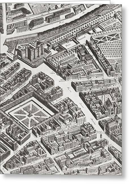Bastille Greeting Cards - Fragment Of The Turgot Map Of Paris Greeting Card by Ken Welsh