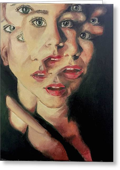 Fragmented Self Portrait Greeting Card by Mariah Hill