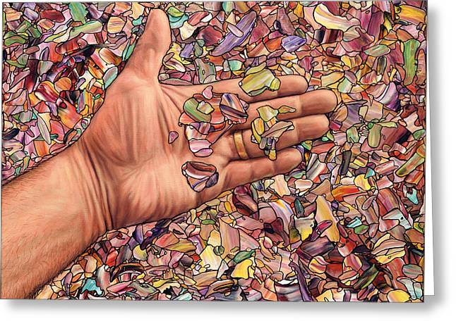 Fragmented Touch Greeting Card by James W Johnson