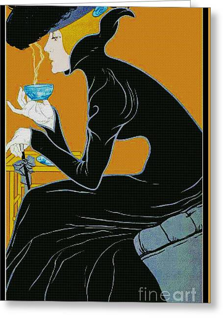 Coffee Drinking Greeting Cards - Fragrant Brew 1905 Greeting Card by Padre Art