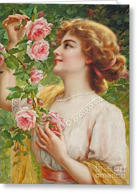 Fragrant Roses Greeting Card by Emile Vernon
