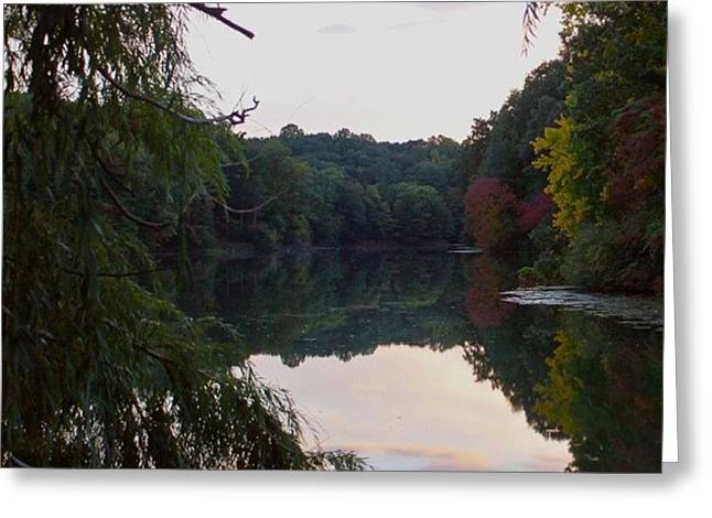 Framed Lake Reflection  Greeting Card by Justin Connor