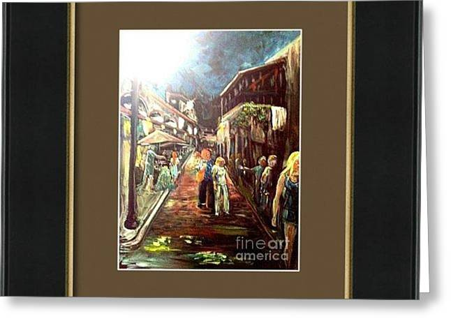 Warm Tones Greeting Cards - Framed St Augustine Art Walk Greeting Card by Patricia Ducher