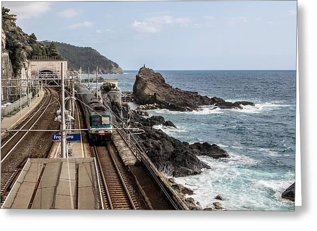 Sea Platform Greeting Cards - Framura railway station on the sea Greeting Card by Nicola Galiero