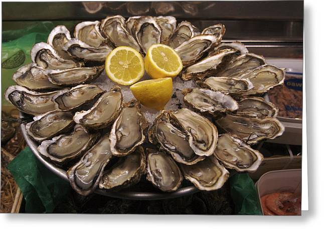 Ready-to-eat Greeting Cards - France, Paris Oysters On Display Greeting Card by Keenpress