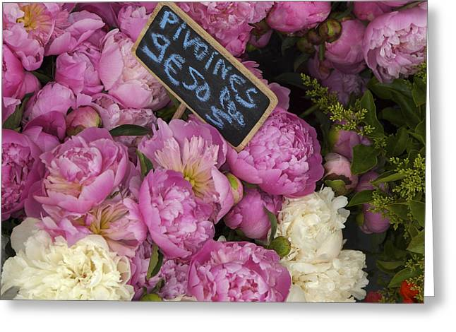 France, Paris Peonies Flowers Greeting Card by Keenpress