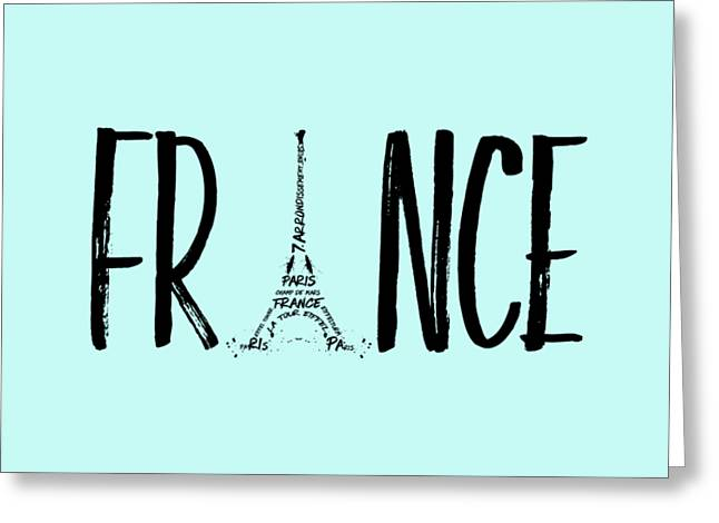 France Typography Panoramic Greeting Card by Melanie Viola
