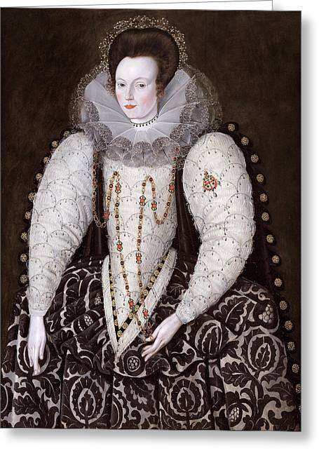 Puffed Sleeves Greeting Cards - Frances Lady Reynell of West Ogwell Devon Greeting Card by Robert Peake