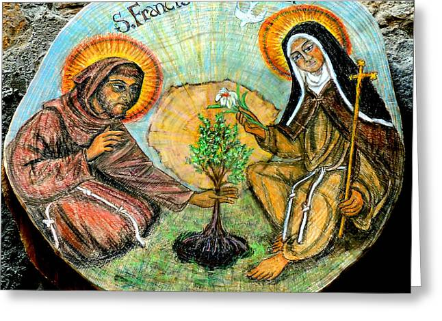 Francis Greeting Cards - Francis and Claire plant a tree Greeting Card by Sarah Hornsby