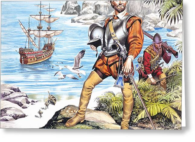 Pirates Paintings Greeting Cards - Francis Drake and the Golden Hind Greeting Card by Ron Embleton