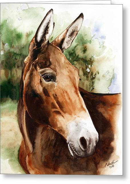 Mules Greeting Cards - Francis Greeting Card by Nadi Spencer