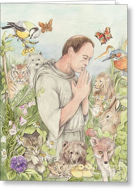 Francis Mixed Media Greeting Cards - Francis of Assisi with the Animals Greeting Card by Morgan Fitzsimons