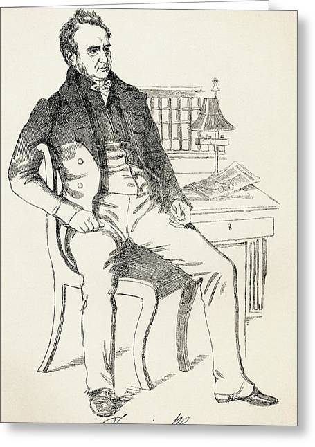 Reformer Drawings Greeting Cards - Francis Place, 1771 Greeting Card by Ken Welsh
