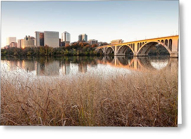 Development Greeting Cards - Francis Scott Key Bridge Arlington Virginia Potomac River Reflections Greeting Card by Mark VanDyke