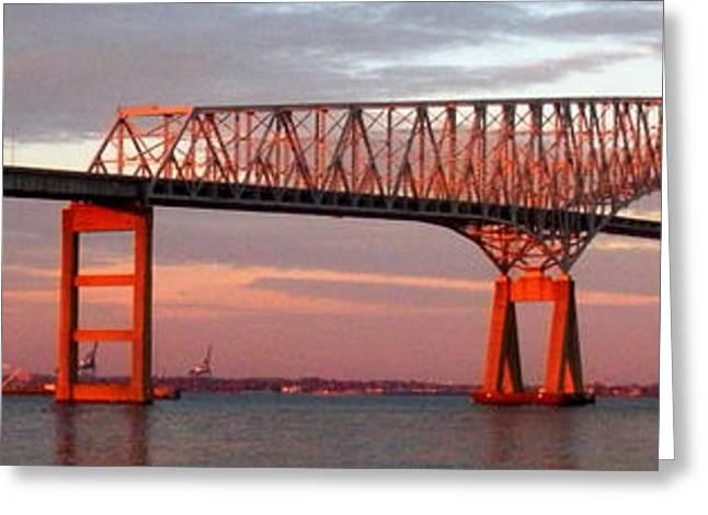 Francis Greeting Cards - Francis Scott Key Bridge at Sunset Baltimore Maryland Greeting Card by Wayne Higgs