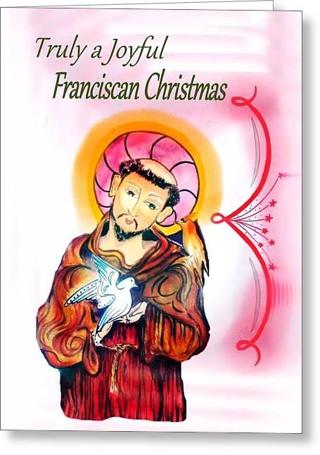Christmas Greeting Greeting Cards - Franciscan Greeting card Greeting Card by Myrna Migala