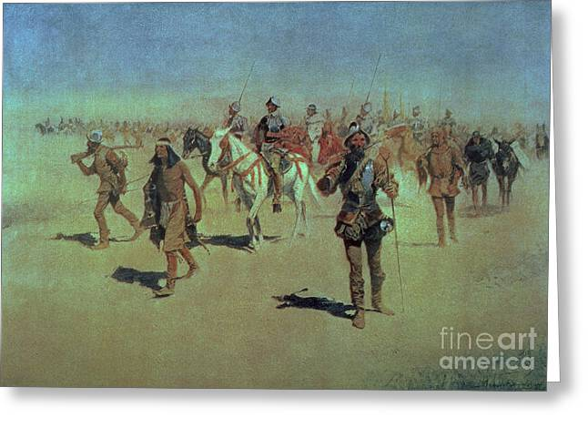Frederic Greeting Cards - Francisco Vasquez de Coronado Making his Way Across New Mexico Greeting Card by Frederic Remington