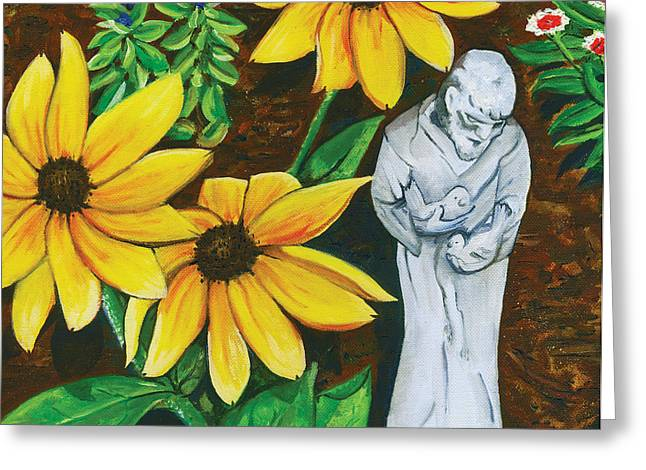Green And Yellow Greeting Cards - Frank and Susan Greeting Card by Laura Brightwood