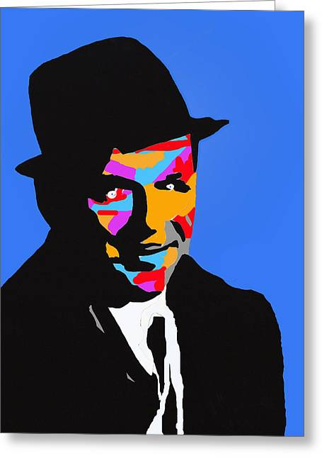 Frank Sinatra Posters Greeting Cards - Frank Feeling Blue Greeting Card by Robert Margetts