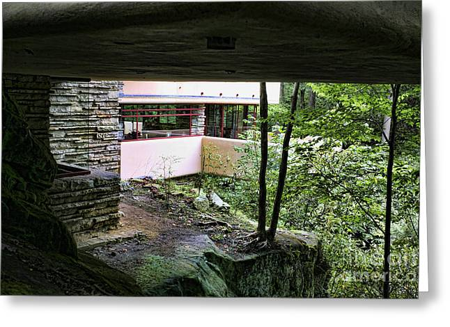 Chuck Kuhn Greeting Cards - Frank Lloyd Wright Falling Water Greeting Card by Chuck Kuhn