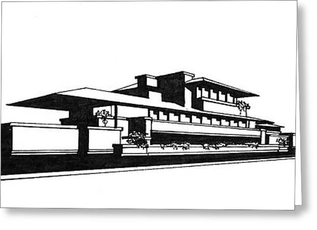 White Drawings Greeting Cards - Frank Lloyd Wrights Robie House Greeting Card by Frank SantAgata