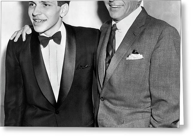 Frank Sinatra And Frank Jr. Greeting Card by Daniel Hagerman
