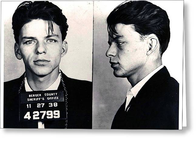 Police Art Greeting Cards - Frank Sinatra Mug Shot Horizontal Greeting Card by Tony Rubino