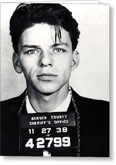 Frank Sinatra Mug Shot Vertical Greeting Card by Tony Rubino