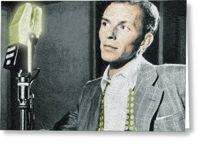 African-american Mixed Media Greeting Cards - Frank Sinatra Greeting Card by Tony Rubino