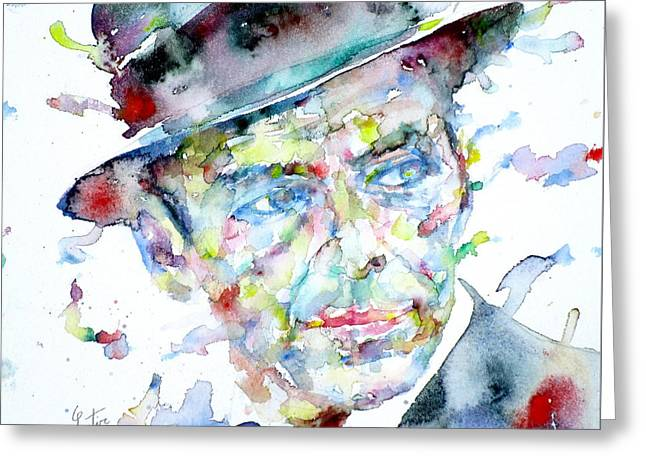 Frank Sinatra Paintings Greeting Cards - FRANK SINATRA - watercolor portrait.2 Greeting Card by Fabrizio Cassetta