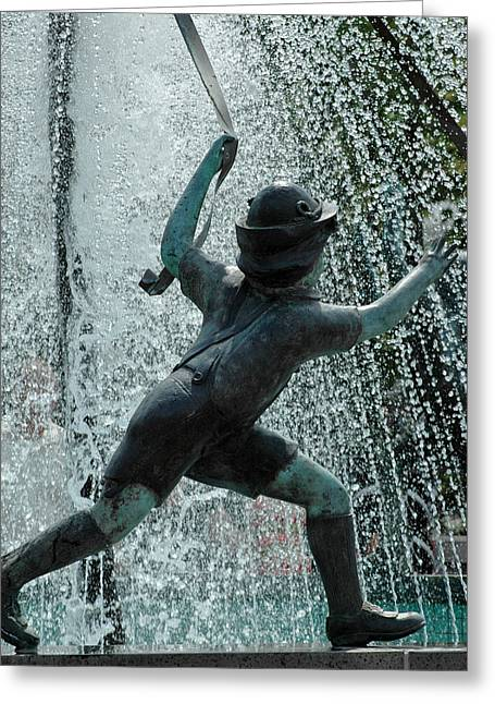 Frankenmuth Fountain Boy Greeting Card by LeeAnn McLaneGoetz McLaneGoetzStudioLLCcom