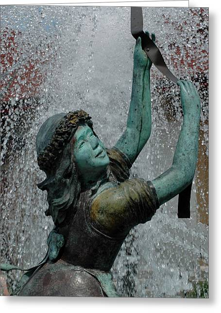 Suspenders Greeting Cards - Frankenmuth Fountain Girl Greeting Card by LeeAnn McLaneGoetz McLaneGoetzStudioLLCcom