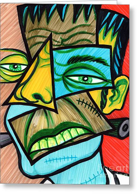 Cubist Drawings Greeting Cards - Frankenstein Greeting Card by Brenda Kato