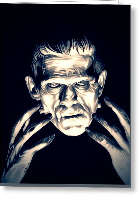 Movie Monsters Greeting Cards - Frankenstein Greeting Card by Fred Larucci
