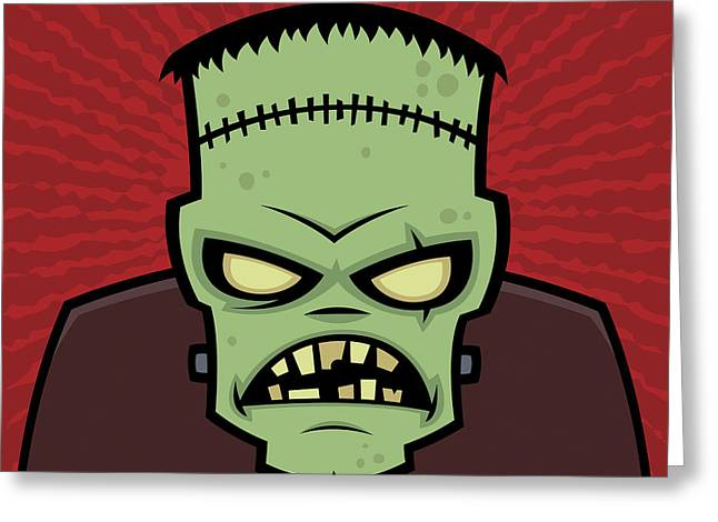 Halloween Greeting Cards - Frankenstein Monster Greeting Card by John Schwegel