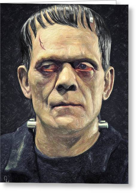 Experiment Paintings Greeting Cards - Frankenstein Greeting Card by Taylan Soyturk