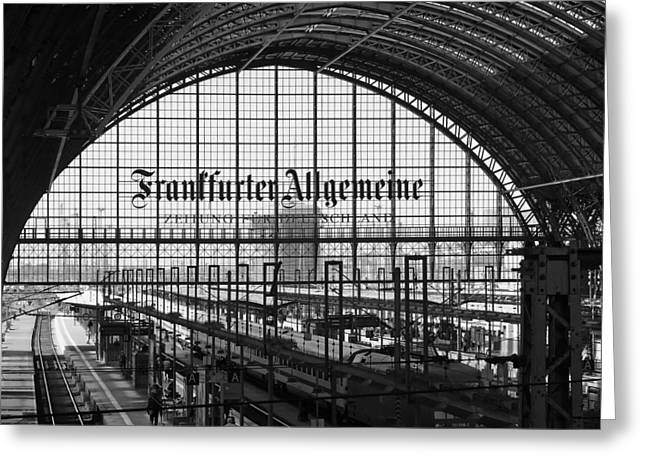 White Photographs Greeting Cards - Frankfort Train Terminal Greeting Card by Unter Lubadel