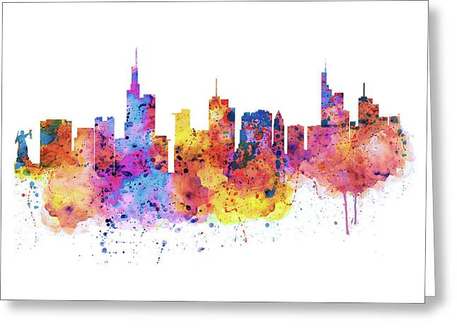 Modern Digital Art Digital Art Greeting Cards - Frankfurt Skyline Greeting Card by Marian Voicu