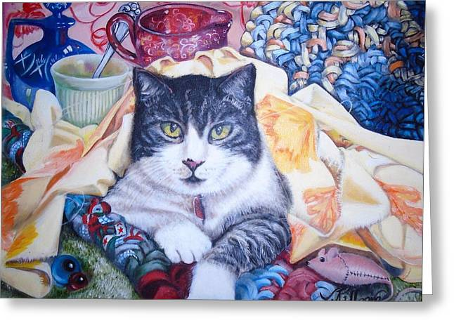 Rag Rug Greeting Cards - Frankie in the Rags Greeting Card by Judith Killgore