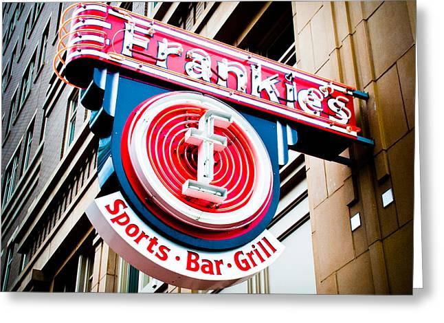 Sports Bar Greeting Cards - Frankies Sports Bar and Grill Greeting Card by David Waldo