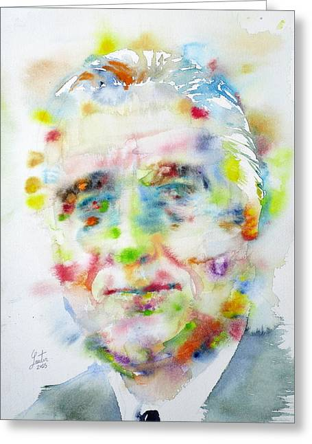 Franklin D. Greeting Cards - FRANKLIN D. ROOSEVELT - watercolor portrait Greeting Card by Fabrizio Cassetta
