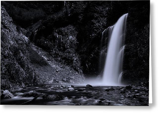 Franklin Falls Black And White Greeting Card by Pelo Blanco Photo