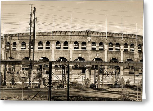 Philadelphia Phillies Stadium Digital Greeting Cards - Franklin Field in Sepia Greeting Card by Bill Cannon
