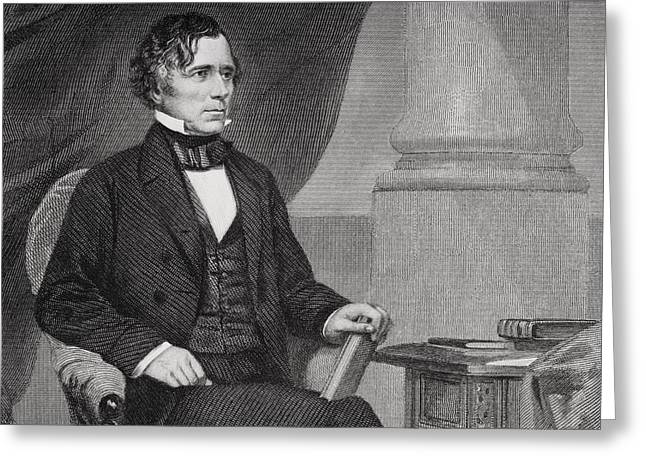 Franklin Drawings Greeting Cards - Franklin Pierce 1804 To 1869. 14th Greeting Card by Ken Welsh