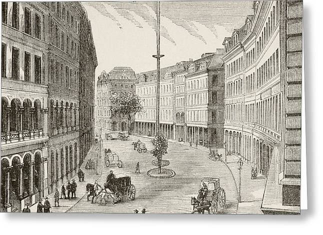 Franklin Drawings Greeting Cards - Franklin Street, Boston, Massachusetts Greeting Card by Ken Welsh