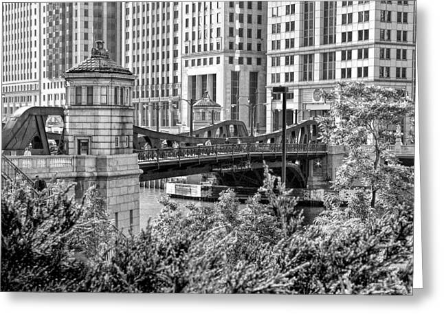 Franklin Street Bridge Black And White Greeting Card by Christopher Arndt