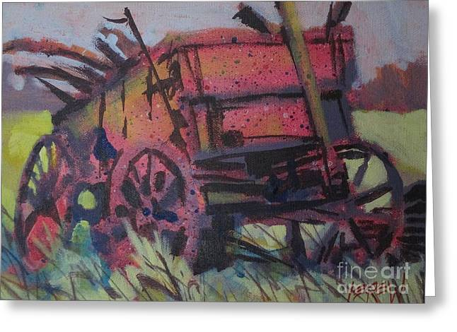 Wooden Wagons Drawings Greeting Cards - Franklintowns Last Wagon Greeting Card by Larry Lerew